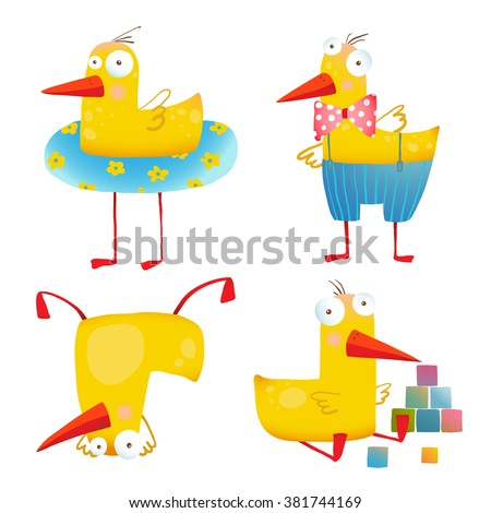 Kids Duck Funny Toy Set. Bird animal cartoon fun play adorable illustration. Transparent background EPS10 vector.  - stock vector