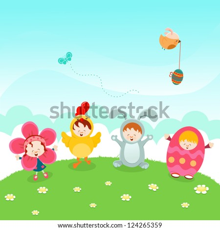 Kids Easter Party - stock vector