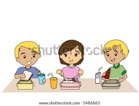 Kids Eating Packed Lunch - Vector - stock vector