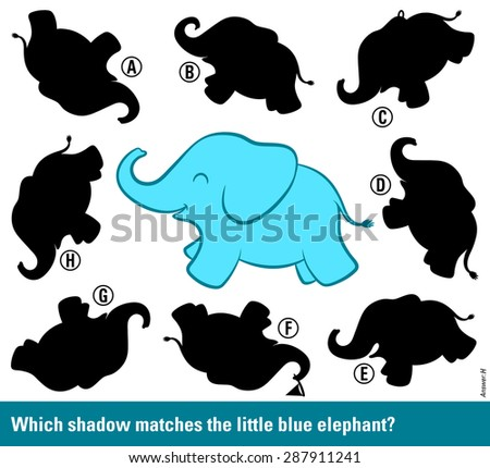 Kids educational puzzle to stimulate the intelligence - Which shadow matches the blue elephant - with a cute cartoon elephant surrounded by different shadow silhouettes to choose and match, vector - stock vector