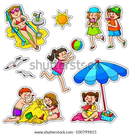 kids enjoying summer - stock vector