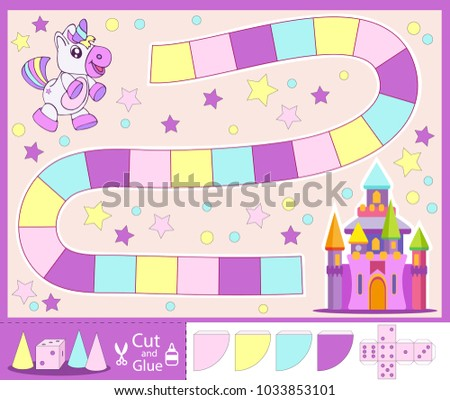 Kids Fabulous Board Game With Set A Dice And Chips Unicorn Go To Castle