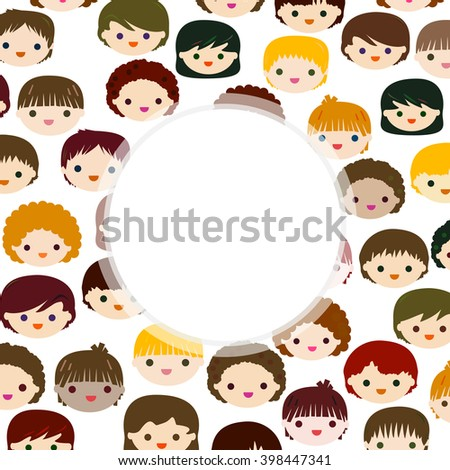 kids faces background with space for text - stock vector