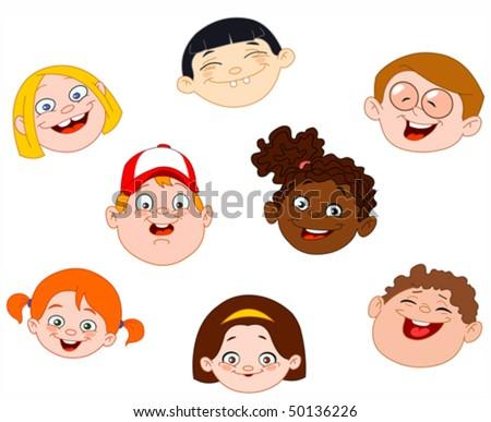 Kids faces set - stock vector