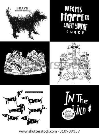 kids fashion board theme dog, shoes illustration - stock vector