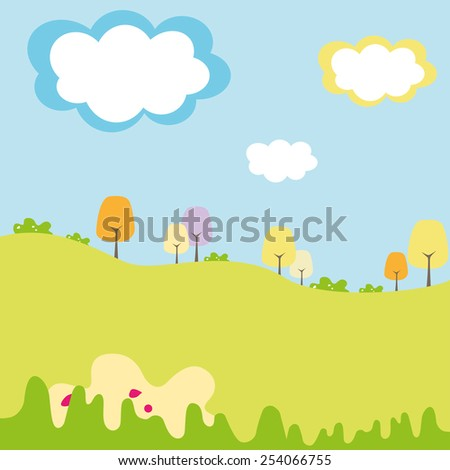 kids field and graphic forests with cloud in the sky