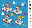 kids flying on books - stock vector