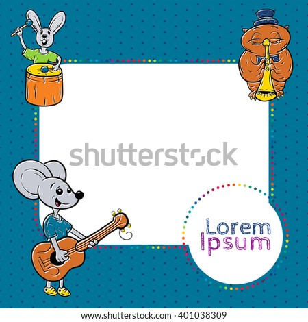 kids frame with animals, musician. cute kids frame template - stock vector