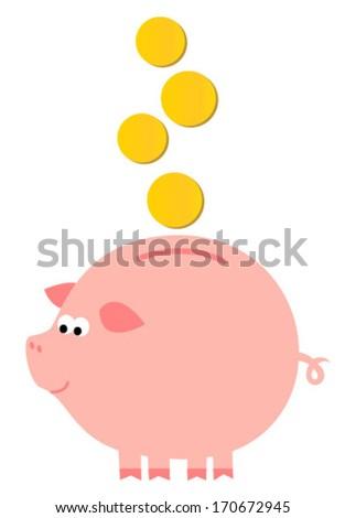 kids funny piggy icon - stock vector