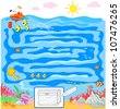 Kids game: sea maze. Can you find the way to the treasure taking the golden key? - stock vector