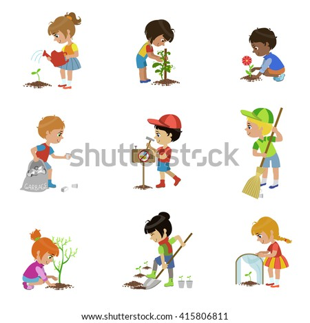kids gardening set of flat outlined cartoon vector design drawings isolated on white background - Cartoon Picture Of Child