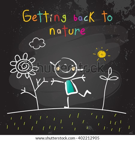 Kids getting back to nature, summer holiday concept vector illustration. Educational chalk on blackboard doodle, sketch.  - stock vector
