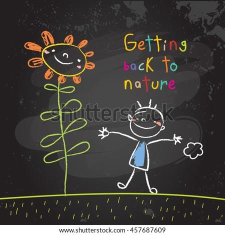 Kids getting back to nature, summer holiday concept vector illustration. Educational chalk on blackboard doodle, sketch.  - stock vector