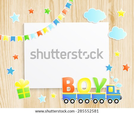 Kids greeting card or invitation for baby little boy with train, stars, flags, gift box and  photo frame on wooden background. Vector EPS10 - stock vector