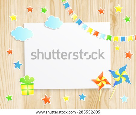 Kids greeting card or invitation for baby with pinwheels, stars, flags, gift box and  photo frame on wooden background. Vector EPS10 - stock vector