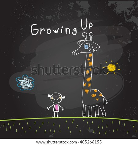 Kids growing up conceptual vector illustration. Girl with giraffe, chalk on blackboard doodle style hand drawn drawing.  - stock vector