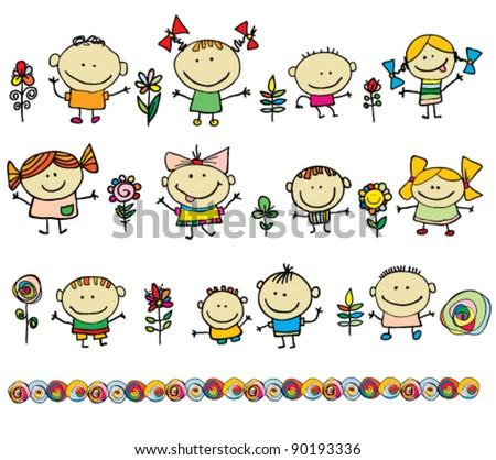 Kids. Hand drawn cartoon children - stock vector