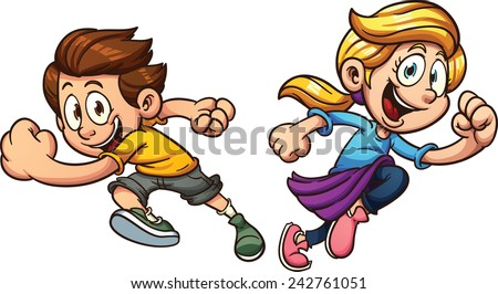 Kids happily running. Vector clip art illustration with simple gradients. Each on a separate layer. - stock vector