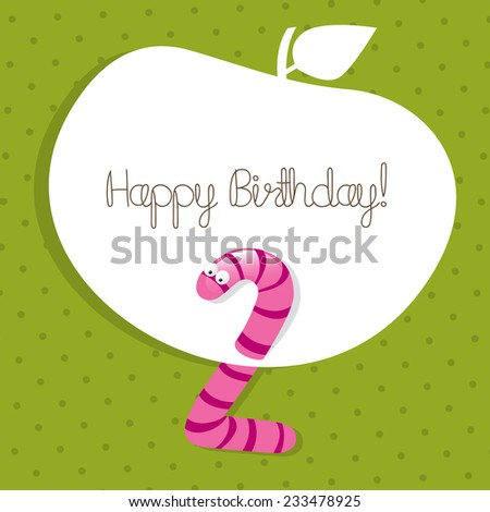 Kids happy birthday cute vector greeting card, invitation.  - stock vector