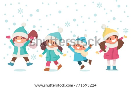 kids have fun and playing outdoors winter time snowy weather children in - Weather Pics For Kids