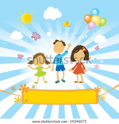 kids having a fun party with balloons in a sunny day. And a nice banner for your text. - stock vector