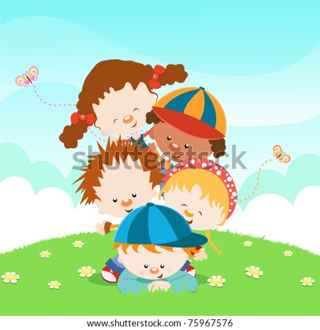 Kids Having Fun - stock vector
