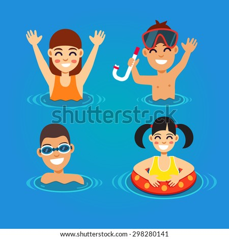Kids having fun and swimming in the sea. Summer vacation concept. Flat style vector illustration. - stock vector
