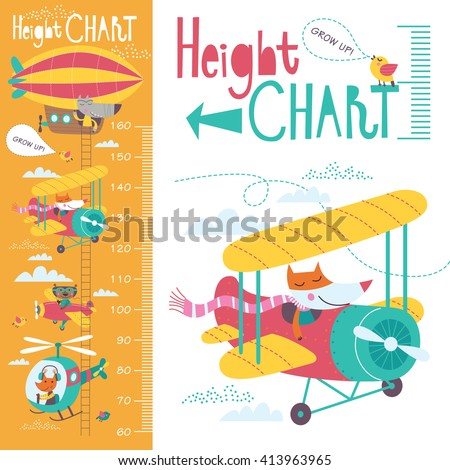 Kids height chart. Vector isolated illustration of cartoon transport and animals on an orange background. - stock vector