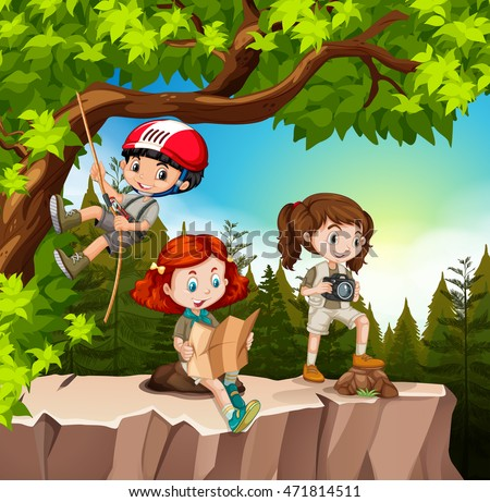 Kids hiking up the mountain illustration
