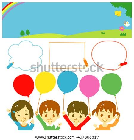 Kids holding balloons, banner set - stock vector