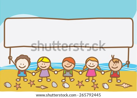 Kids holding banner at beach - stock vector
