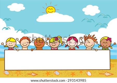 kids holding banner at beach when summer - stock vector