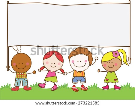 Kids holding banner at park - stock vector