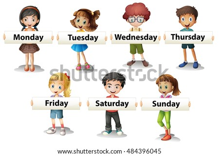 Kids holding cards saying days of the week illustration