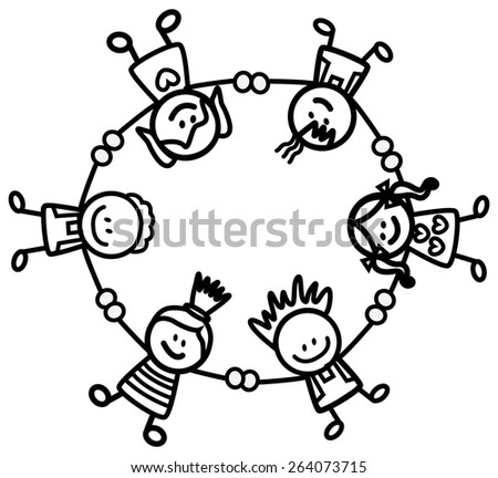 kids holding hand  - stock vector