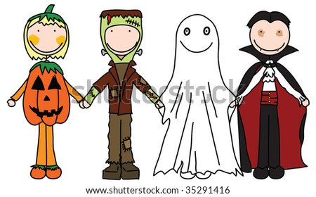 Kids holding hands in Halloween costumes - stock vector