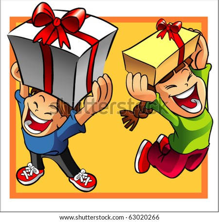 kids holding present - stock vector