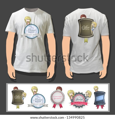 Kids holding vintage label printed on white shirt. Vector design. - stock vector