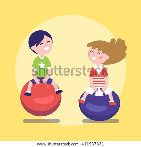 Kids hopping on a jumping balls. Happy childhood boy and girl friendship. Modern flat vector illustration clipart. - stock vector