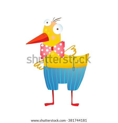 Kids Humorous Yellow Duck with Bow Tie. Yellow duckling birdie cartoon funny cute childish drawing. Transparent background EPS10 vector.  - stock vector