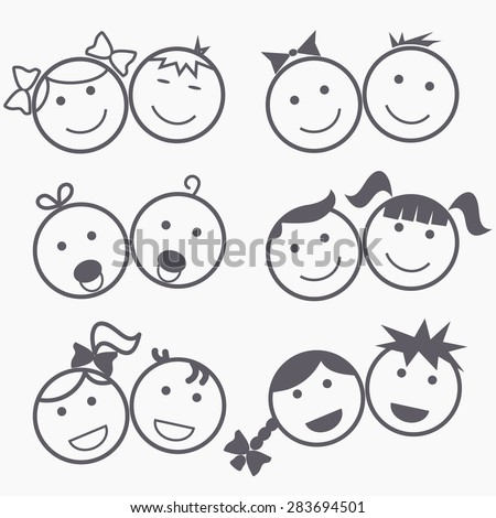 Kids icons, happy faces, smile children, boy and girl silhouette, linear design - vectors - stock vector