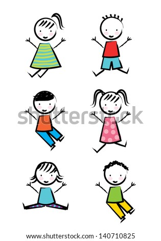 kids icons over white background vector illustration - stock vector