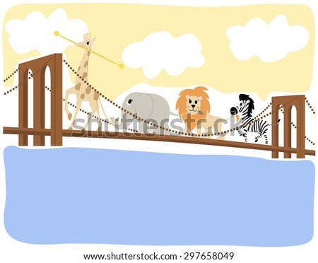 Kids Illustration Baby Zoo Animals Marching Across The Brooklyn Bridge - stock vector
