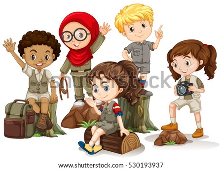 Kids In Camping Outfit Standing On Woods Illustration