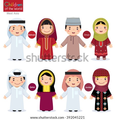 Kids in different traditional costumes (Bahrain, Oman, Qatar, Jordan) - stock vector