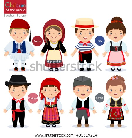 Kids in different traditional costumes (Greece Italy Portugal Serbia)  sc 1 st  Shutterstock & Kids Different Traditional Costumes Greece Italy Stock Vector ...