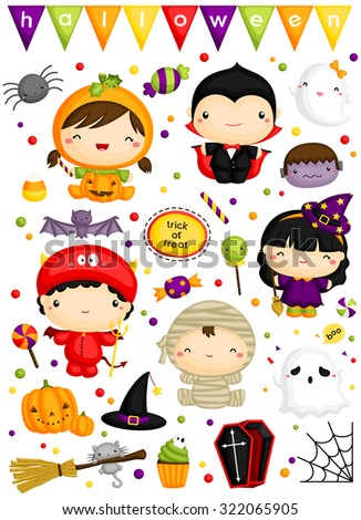 Kids in Halloween Costume - stock vector