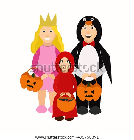 Kids in Halloween costumes isolated on white background. Trick or treating.