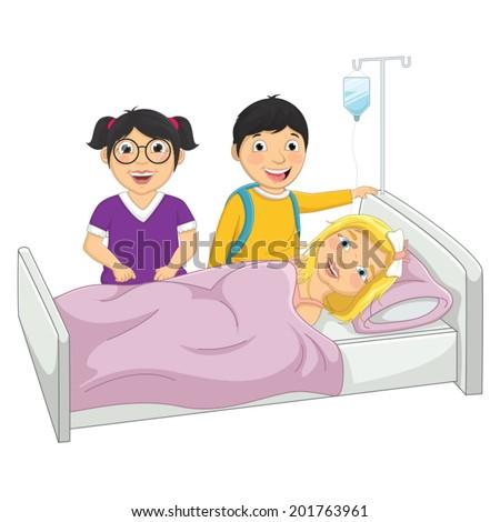 Kids in Hospital Vector Illustration - stock vector