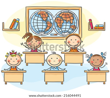 Kids in the classroom at the lesson - stock vector
